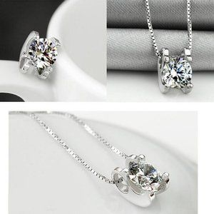 Jewelry - NEW 925 Sterling Silver Solitaire Diamond Necklace